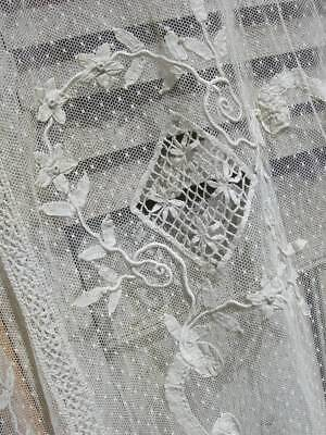 Beautiful antique French 1920s tulle bedspread with hand embroidered appliques