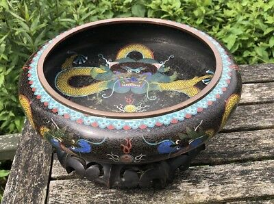 Fine Chinese Late Qing Dynasty Cloisonne Bowl Decorated Dragon With Mark