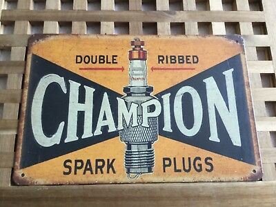 Vintage Retro Style Metal Tin Sign Poster Champion Spark Plugs 2 Cave Wall Home