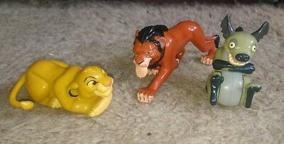 Scar, Simba and Ed the Hyena (Burger King 1994) Lion King Toys /Action Figures