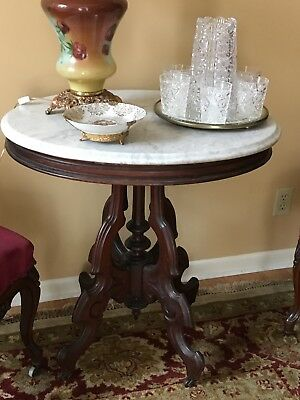 Victorian marble top side tables; Two matching awesome condition