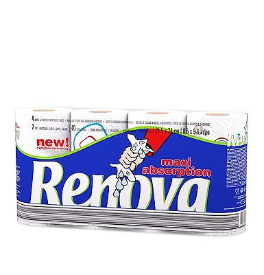 Renova Kitchen Tissue Paper Towel Maxi Absorption Hydroflow Technology 40 Rolls
