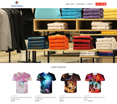 Tshirt Website Business For Sale - Earn £405.00 A SALE. Free Domain| Web Hosting