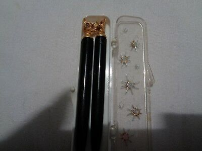 vintage set  scottie & cat pens -rhinestone eyes  hard plastic case 3 1/2 in.