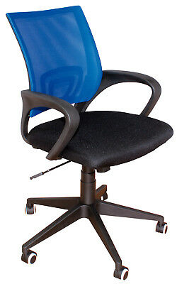 Chair Office Swivel Regulation Padded Adjustable Arm PVC Blue / Black