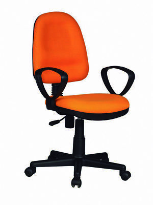 Chair Office Swivel Resistant Seat Adjustable Padded Arm PVC Orange