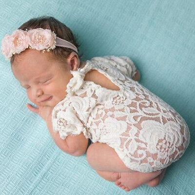 Infant Baby Photography Props Lace Costume Newborn Baby Romper Headband Outfit