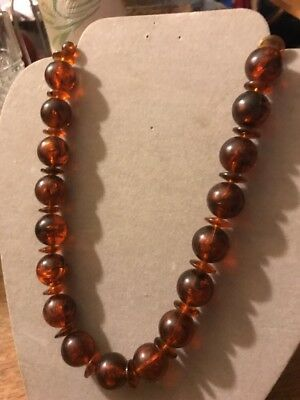 Vtg Faux Tortoise Root Beer Amber color Plastic Bead Mod Swirl Necklace,