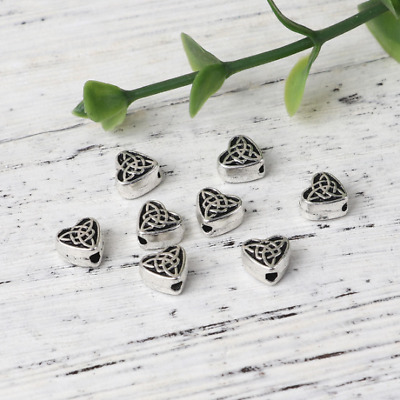 10 Celtic Knot Heart Spacer Beads Antique Silver Tone 6.5mm