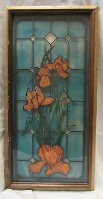 "ANTIQUE OR VINTAGE STAINED GLASS WINDOW 23"" x 11.5"" ORCHID IN WOOD FRAME"
