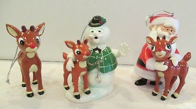 LOT of 3 DEPT 56 SANTA & SNOWMAN with RUDOLPH CHRISTMAS ORNAMENTS DECORATIONS