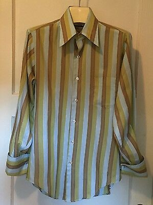 Vintage 70s Brent Golden Label Mens Large Long Sleeve French Cuff Shirt Stripe