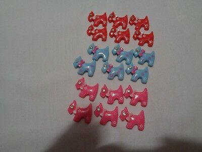 set of 18 (6 each red, blue, pink) scottie dog cabs - scrapbooking crafting etc.