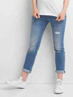 Gap Maternity NWT Blue Denim Distressed Full Panel Best Girlfriend Jeans 6