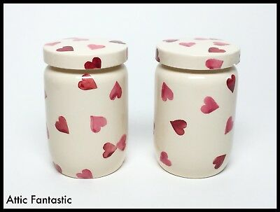 Emma Bridgewater, Pair Storage Cannisters 'pink Hearts' Design Very Collectable