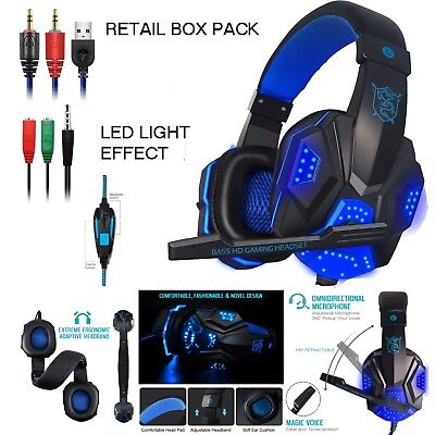 New Deluxe Headset Headphone With Microphone For Xbox One & S Ps4 Pro Laptop