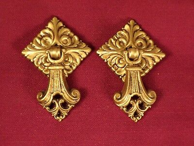Pair French Provincial Chippendale Brass Drop Ring Drawer Pull Antique Hardware