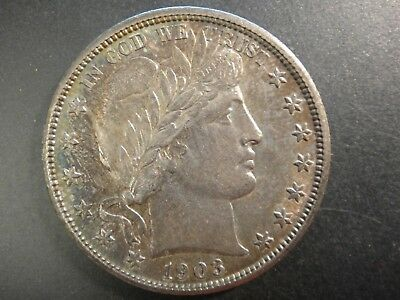1903 United States Barber Silver Half Dollar. Choice Uncirculated. Toned.