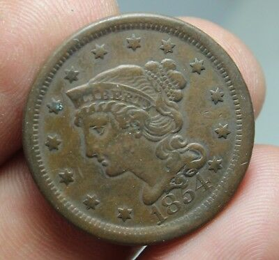 1854 N3 Large Cent U.s Type Coin
