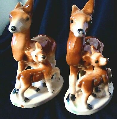 Mother Deer Doe and Fawn Figurine Ceramic Vtg Japan Set of 2 Perfect Condition