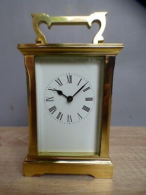 A GOOD GORGE CASED ACG CARRIAGE CLOCK WITH KEY c1978 * CLEANED AND RE OILED *