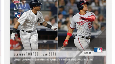 2018 Topps Now Rookie Card Yankees Greyber Torres Juan Soto #323 Both Players Hr