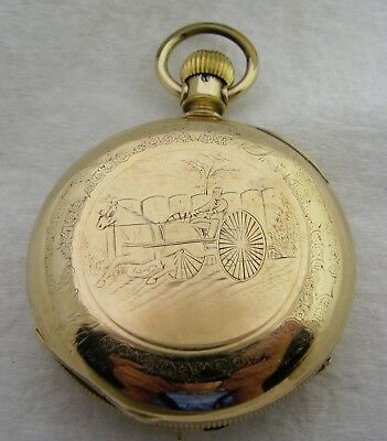 Antique 18S Aurora Engraved Horse & Buggy Gold Filled Pocket Watch