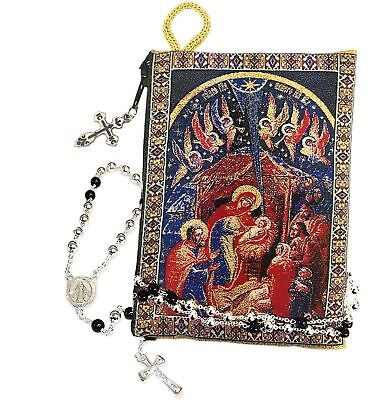 NATIVITY Jesus Rosary Prayer Beads Tapestry Icon Pouch Keepsake holder 2 Sided