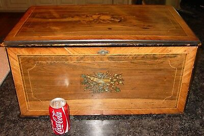 Antique Large 12 tune Swiss music box with drum & bells--excellent----15467