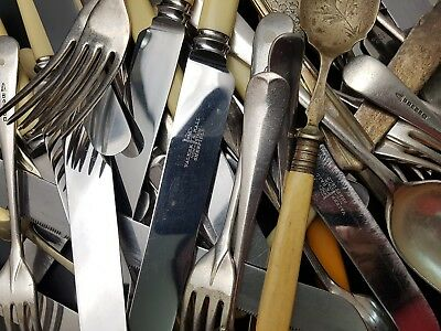 Packet of 1.5Kg of Assorted Vintage Cutlery inc Silver Plate, Stainless etc