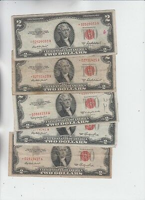 Legal Tender $2 Red Seal 1953's STAR 5 notes lower grade