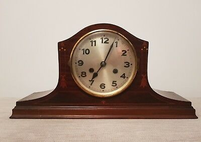 Napoleon Hat Clock Inlaid Wood Cased Mantle Clock Working Order