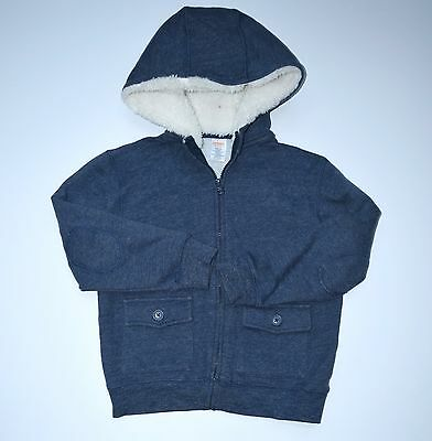 Gymboree Boys Sweatshirt Hoodie Animal Party S 5-6 Blue Plush Lined NG1