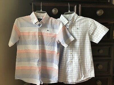 TWO NEW Vineyard Vines Boys M Whale Shirt Short Sleeve Button Front Shirts