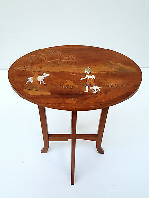 Antique rosewood Marquetry side table with folding base