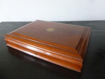 Antique Vintage Solid Mahogany Wooden Brass Shield Cutlery Box Lift Tray 1900