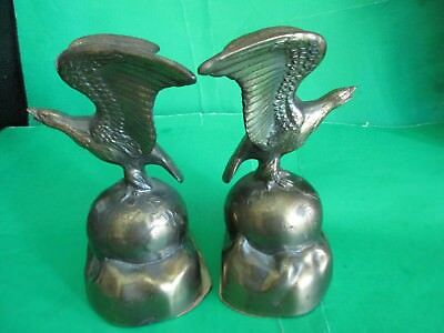 Majestic Solid Brass Statues Bookends-Eagles Perched On Globe Spheres