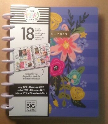 "NEW! 2018-19 CLASSIC ""BRIGHT BLOOMS"" Happy Planner me & my big ideas VERTICAL"