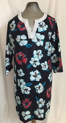 11c93c3c2e NWT Talbot's Beach Cover Up Linen Blue Floral Pearl Beaded Neckline Size M