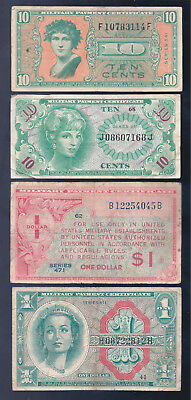 United States, 1947-1965, 10c - $1 Dollar, MPC, 4 Different Notes, F-VF!