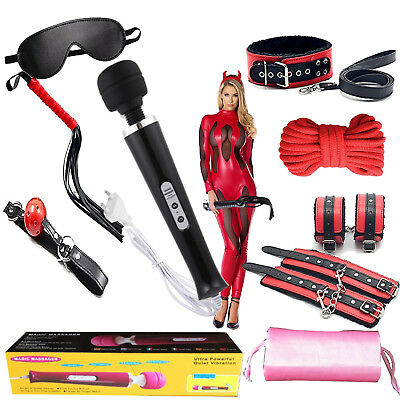 KIT set rosso nero e vibratore magic massager wand BDSM  bondage sadomaso