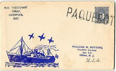Nigeria to Clifton NJ circa 1951. Paquebot cancel