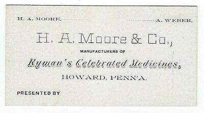 Ryman's Celebrated Medicines late 1800's medicine trade card - Howard, PA
