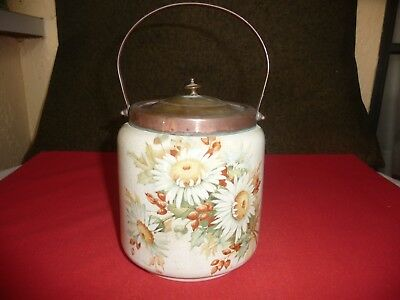 English Ceramic Biscuit / Cracker Jar With Metal Handle And Lid