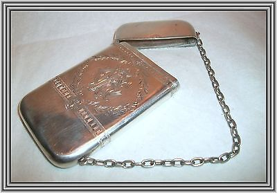 """WHITING - Antique Sterling 1870s - AESTHETIC - 4"""" FLORAL ETCHED CARD CASE NR"""