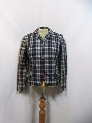 Vintage Jacket 60s Plaid Madras Short Crop NOS India RETRO MOD Bleeding Cotton