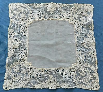 Vtg Antique Hanky Alencon Lace with Figural Dog Bird EXC Cond Lot 14