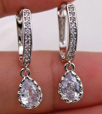 18K White Gold Filled - Noble Teardrop Amethyst Topaz Zircon Wedding Earrings