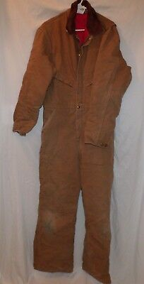 Carhartt Brown Duck Coveralls Red Quilted Lining Tall 42 Style X01 Zipper Front