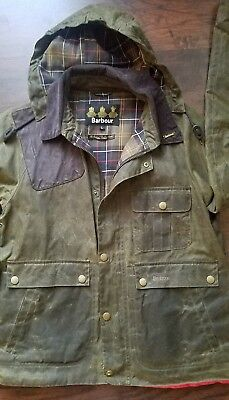Barbour Ware mens waxed cotton jacket hunting Large L olive green